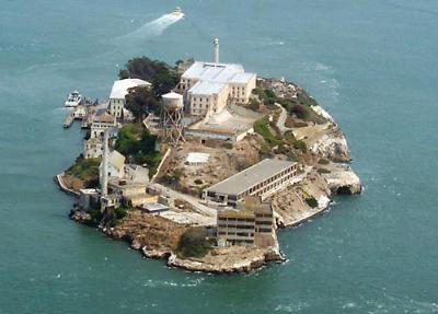 Alcatraz Prison, San Francisco; the most famous US prison, held Al Capone, now a tourist attraction.