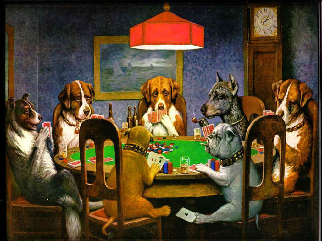 In the US, even dogs play poker.