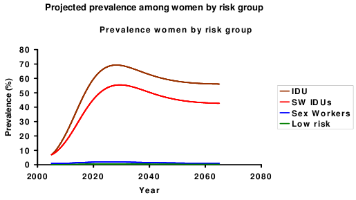 The model parameters specified in this way with current prevalences of infection in risk groups generated an epidemic concentrated in injecting drug users.