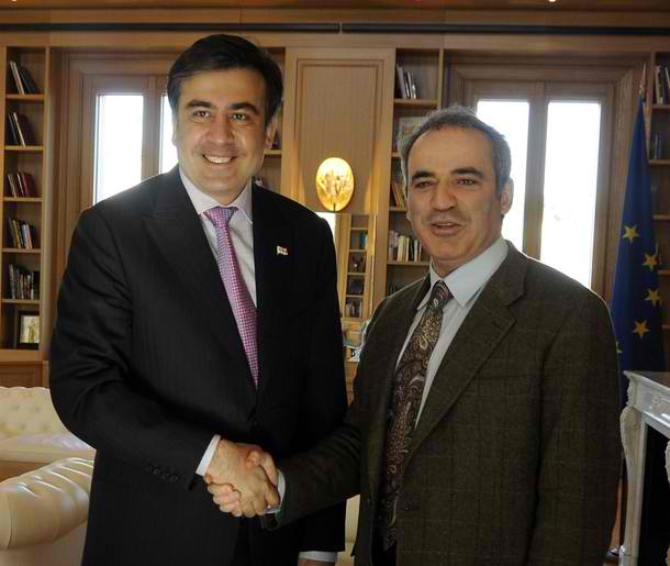 Garry Kasparov, leading Russian liberal, meeting with Georgian President Saakashvili, after Russia fought a war with him in 2008. I'm sure things like this do wonders for the liberals' popularity.