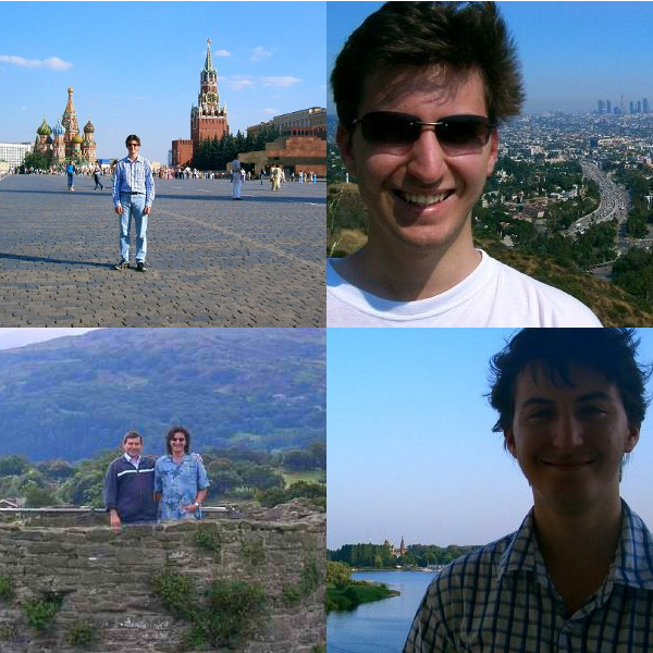Red Square, Moscow; Los Angeles, California; Kostroma by the Volga; Conwy Castle, Wales.