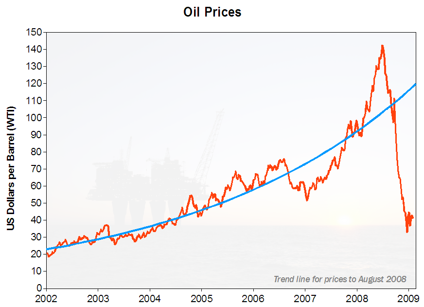 Exponential rise in oil prices; all exponents in a finite environment will eventually overshoot and collapse.