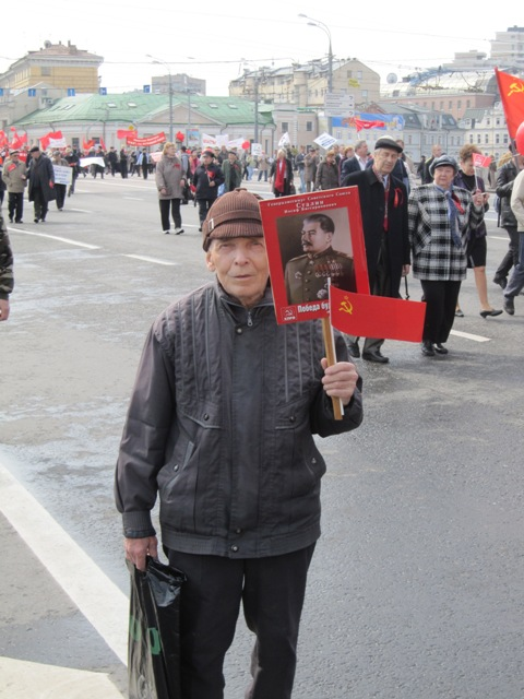 Russian man with Stalin portrait, May Day 2010 (h/t Sean Guillory).