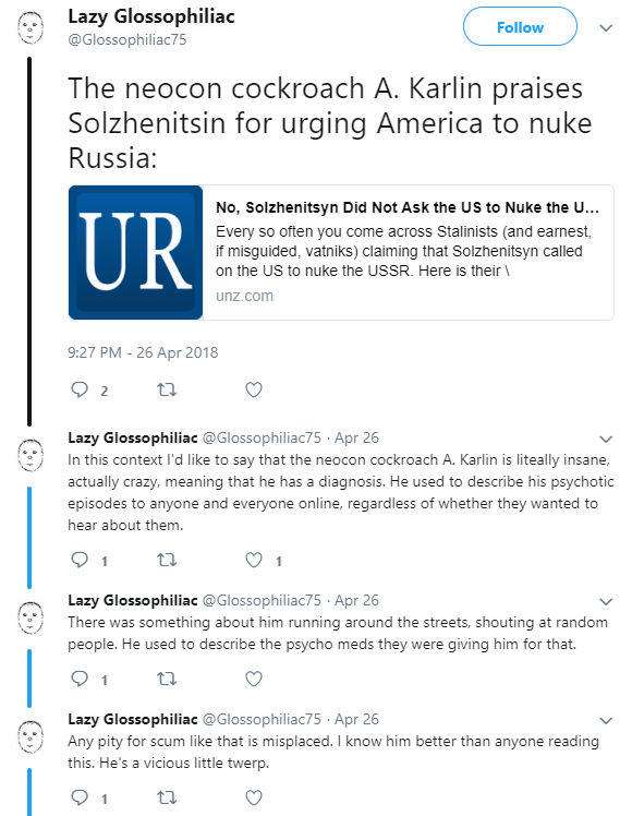 Lazy Glossophiliac Attaqs the Neocon Cockroach Blogging at The Unz